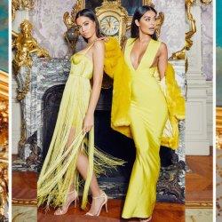 Rebites de ouro de tubos pinados vestido de bandagem com Filete parte da noite vestido Curto