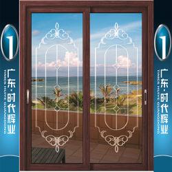 Du grain du bois des portes coulissantes en aluminium avec verre sculpté