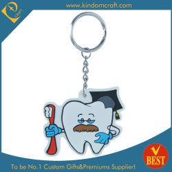 La Chine de haute qualité Forme de dent personnalisés imprimés au prix d'usine de chaîne de clé en métal