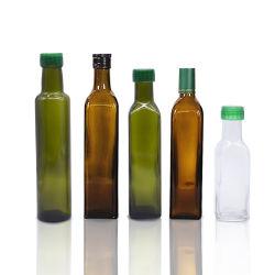 Cuisine utilisé 250ml carré vide de vinaigre de verre brun olive bouteille d'huile avec bouchon à vis