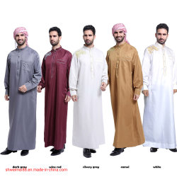 Исламская мужская одежда мужчин Maxi-Muslim Kaftan футболка Abaya Дубаи Dishdasha длинной втулки