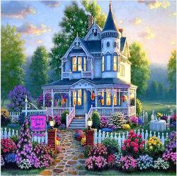 Het Pluksel van de zijde droomt de Diamant van de Landschappen van de Villa Schilderend het Volledige Schilderen van het Canvas van de Boor DIY