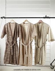 Robe longue bon marché de kimono d'hôtel de sauna de STATION THERMALE de coton de la vente en gros 100