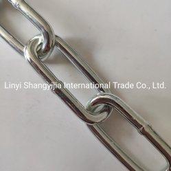 La catena a maglia lunga placcata zinco di DIN5685c DIN763 Grade30 ha sbavato la catena liscia messa in ordine della saldatura