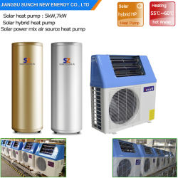 Domestic Hot Water 60deg. C 220V 5kw 260L, 7kw 300L, 9kw 350L save 80% Energy Cop5.32 air Split Heat pump hybrid solarly House Heater