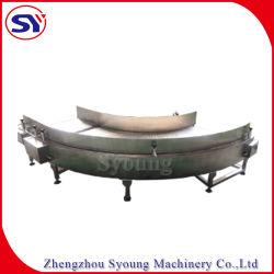 La banda de la tablilla de la cadena transportadora de la placa de acero inoxidable con el codo y las secciones inclinadas