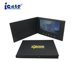 L'or de 7 pouces l'Estampage PU carte postale vidéo LCD avec la CE RoHS
