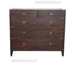 Hot vente de meubles de style classique chinois ciré chêne brun métallique couleur laiton antique Armoire 5 tiroirs de la poitrine