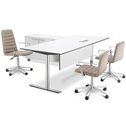 Современное здание белого цвета домашний компьютер угловой мебели уникальные L Форма младших деревянные стали Manager исполнительного таблица с боковой таблица