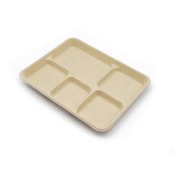 Bagaço de cana-de-Compostável descartáveis ou de celulose de fibra de bambu redondo ou quadrado de bandejas de papel com 2, 3, 5 compartimentos para batatas fritas