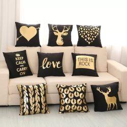 金の印刷愛枕カバーの寝具の寝室の居間の枕を青銅色にする2018新しく柔らかいプラシ天は18*18インチJoymf001を包装する
