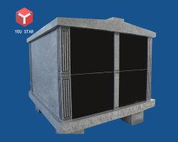 China fabrica de alimentación 4 criptas mausoleo del cementerio de la familia con diseños de granito gris