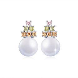 Commerce de gros modèles Pearl Earring pendentifs collier argent 925 Bijoux en perles Femmes Ensemble