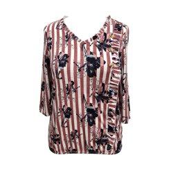 La mujer ropa de moda el algodón viscosa Jersey Top Fancy rizó Blusa Manga Larga Camiseta
