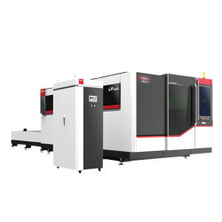 강철 또는 스테인리스 또는 알루미늄 또는 직류 전기를 통한 격판덮개 Laser 절단 장비를 위한 높은 정밀도 교환 테이블과 전면 커버 섬유 Laser 낱장 용지 기계