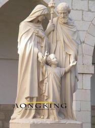 Populaire religieuze figuur Marble Stone Heilige familie beeldhouwkunst