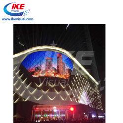 LED-Bauvorhaben mit kundenspezifischer transparenter LED-Streifen-Ineinander greifen-Bildschirmanzeige für die Fassade, die LED-Projekt bekanntmacht