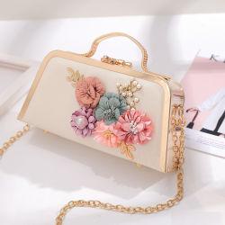 Neue Blumen-stereoskopische goldene Abend-Handtasche