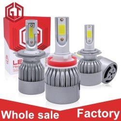 Автоматическое освещение оптовой початков фары 72W 8000 лм 6500K H7, H11, H4 автомобильная лампа S2 Car светодиодные лампы фар