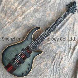 Grand personalizado através do corpo do bocal do corpo de cinzas Sintonizadores Preto 6 Cordas Bateria de 9V Electric Bass Guitar em stock