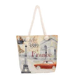 記念品の卸売のカスタム女性の女性学校のギフト旅行エッフェル塔のキャンバスのショッピングハンドバッグ