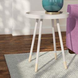 백색 UV 색칠 나무로 되는 악센트 둥근 가정 가구 거실을%s 고정되는 커피용 탁자