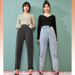 Mayorista personalizada ropa de moda ropa casual con bordados de la Mujer Señoras Pantalones vaqueros pantalones vaqueros