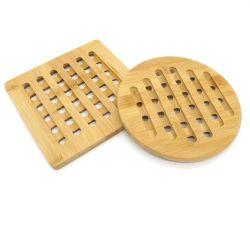 Casa de bambú el bambú Trivet cocina caliente Pads Trivet, resistente al calor de las pastillas Tetera Trivet, cuadrado y redondo