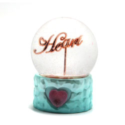 Logotipo personalizado Shinny Efecto espejo amor palabras Snow Globe Bola de Nieve de cristal para San Valentín regalo desyerba