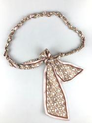 패션 실크 보우 - 웨이스트 벨트 - 금속 반지를 가진 Knot 여성용 블렛 체인