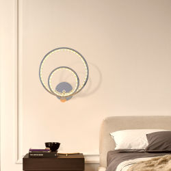 Anel Duplo de parede LED luz montada com acabamento cromado levou 15W com reóstato de toque