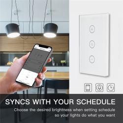 Nós Smart WiFi luz de parede reóstato do interruptor de toque do painel de vidro, 90-240VAC Smartlife Tuya APP telecomando funciona com o Google Home e Alexa, Smart Home Automaction