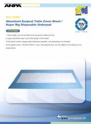 Capot table Absorbants jetables Alèse de feuille pour l'utilisation chirurgicale 100x220