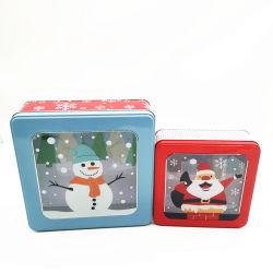 Kundenspezifisches Größen-Quadrat verschachtelte Weihnachtsgeschenk-Zinn-Kasten mit Belüftung-Fenster