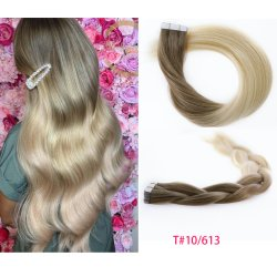 Loira Color Remy invisível de cola da fita de pele Cabelo humano Virgem Extensões de cabelo Brasileiro