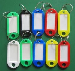Im Freienspitze-Gepäck Identifikation versieht Kennsatz-Schlüsselringe mit Namenskarten mit Warnschild