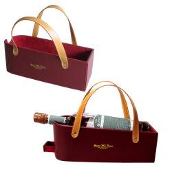Luxe Novelty Simply Design PU leren wijnmand (3644R1)
