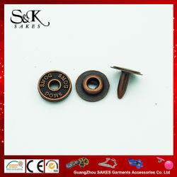 Anti cor de cobre orifício central da placa de metal rebite liga para jeans