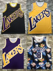 Commerce de gros 2020 Newest Mitchell & Ness N-B-A Los Angeles Laker Jaune Violet Noir classique le basket-ball Jerseys