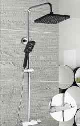 Salle de bains tour monté au mur Corps en acier inoxydable de jets de massage de douche haut de la tête de pulvérisation à levier unique système d'eau de mélangeur de douche Accessoires de la colonne de douche