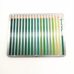 La couleur de l'étain métal crayon cas, l'étain l'emballage, boîte de papeterie scolaire, Pack de 18 ensembles triangulaire de couleur d'étain Pencilcase gaufré