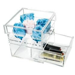 透明の小さい正方形 Perspex のローズのケース Lucite のアクリルの花のギフト 引き出しとふた付きボックス
