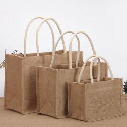 Toile de Jute Jute naturel personnalisé le linge de chanvre sac fourre-tout pour faire du shopping à la promotion