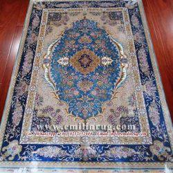 Tapetes de Seda Real persa Lado Oriental de pontos nodados mobiliário artesanal de tapetes tradicionais 6X9 400 Azul Floral Linha Hereke Isfahan Naim Fornecedor fábrica chinesa de Design