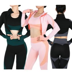 No Inverno de 2020 Mulheres roupas de ginástica estojo em treino desportivo Fitness prensa de Manga Longa Superior de Cultura Jacket Sutiã de ioga cintura elevada Perneiras Seamless 3 pedaço sportswear