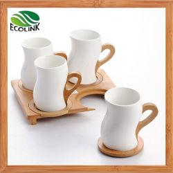 Bambusgriff-keramisches Tee-Becher-Kaffeetasse-Set