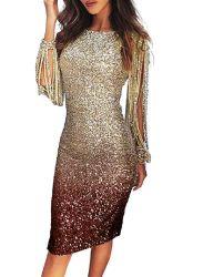 Gradiant Minikleid der Frauen elegantes reizvolles Sequin-Troddel-Hülsen-Knie-Länge Bodycon Cocktailparty-Verein MIDI-Kleid Esg13658