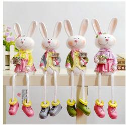 Conejito de resina País Conejo Flor de la Figurilla de muñecas coleccionables de regalo
