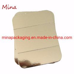 Goldener Kuchen-niedriger Vorstand-kleiner Kuchen-Vorstand-Minipapiernahrungsmitteltellersegment-Kasten