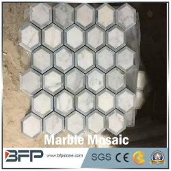 Nuevo diseño en blanco hexagonal mosaico de mármol para baño Piso/pared